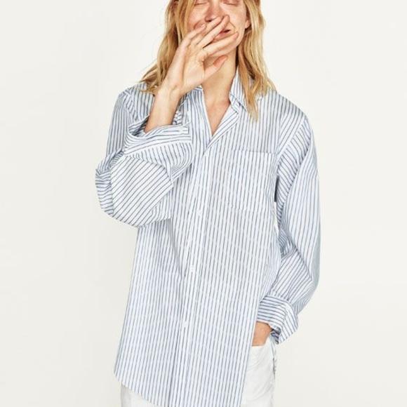 1b57fb878f40 Zara Tops | Woman Light Blue Striped Oversized Shirt Xs | Poshmark